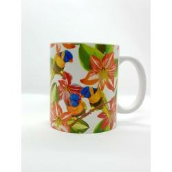 Mug - Fleurs et perruches