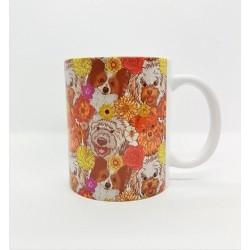 Mug - Chiens et fleurs multi