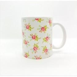 Mug - Fleurs rose fond blanc