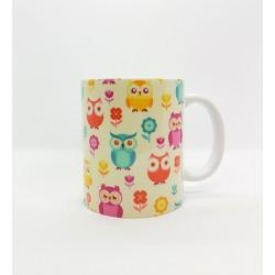 Mug - Hiboux/Chouettes fond beige