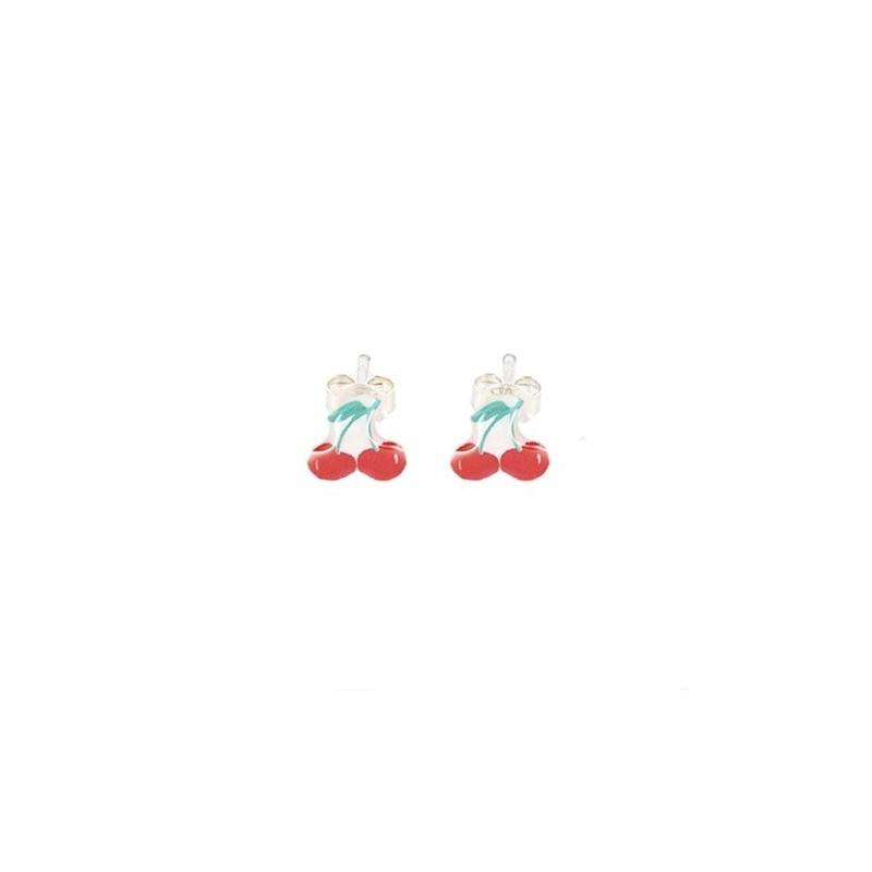 Boucles d'Oreilles tige CERISE - Ribambelle