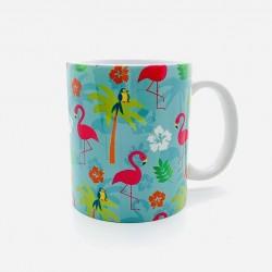 Mug - Flamant Rose Fond Vert