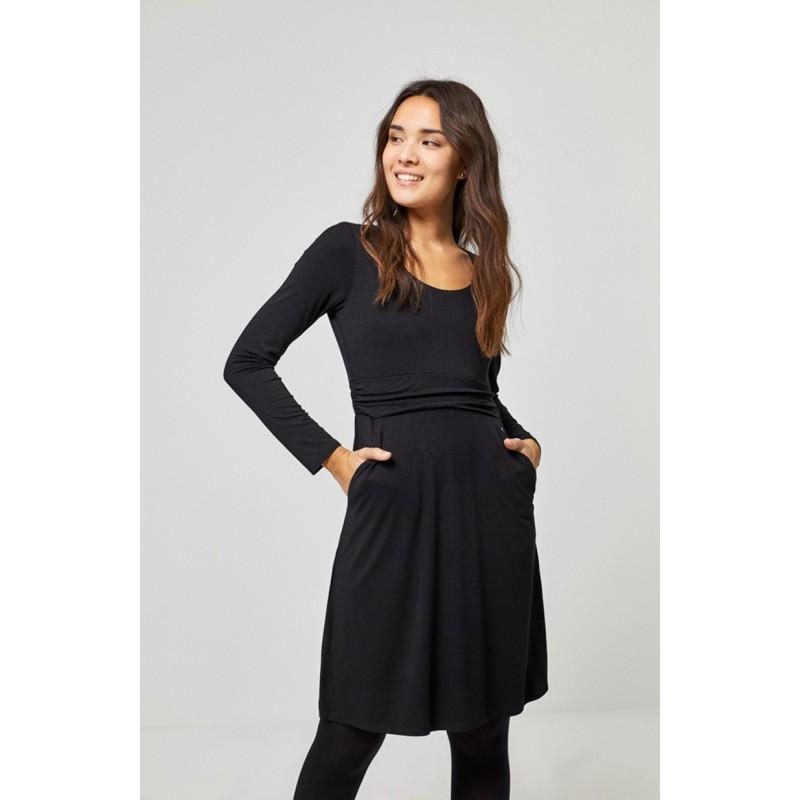 Robe avec poches noir NABI712 - Surkana