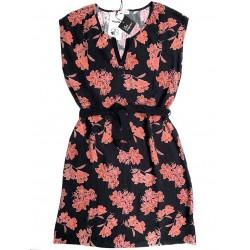 Robe noir fleurs B2254 - Le...
