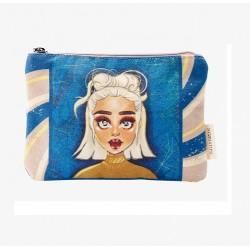 Pochette vanity bleu -...